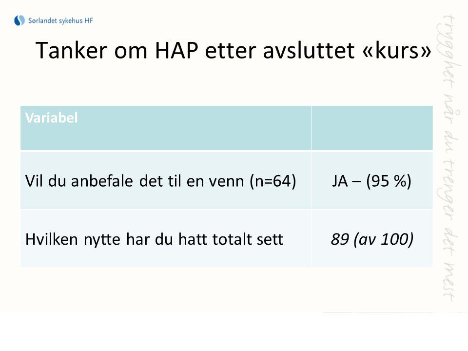 Tanker om HAP etter avsluttet «kurs» Variabel Vil du anbefale det til en venn (n=64)JA – (95 %) Hvilken nytte har du hatt totalt sett89 (av 100)
