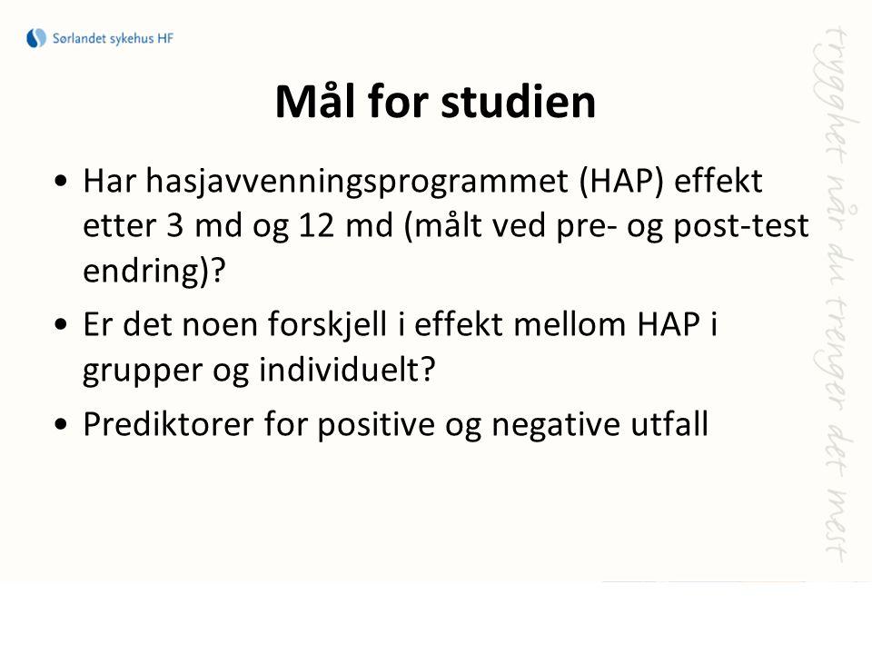 Mål for studien Har hasjavvenningsprogrammet (HAP) effekt etter 3 md og 12 md (målt ved pre- og post-test endring)? Er det noen forskjell i effekt mel