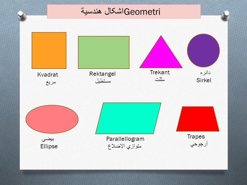 Kvadrat مربع Rektangel مستطیل Trekant مثلت Parallellogram متوازي الاضلاع Trapes أرجوحي اشکال هندسية Geometri دائره Sirkel بیضی Ellipse