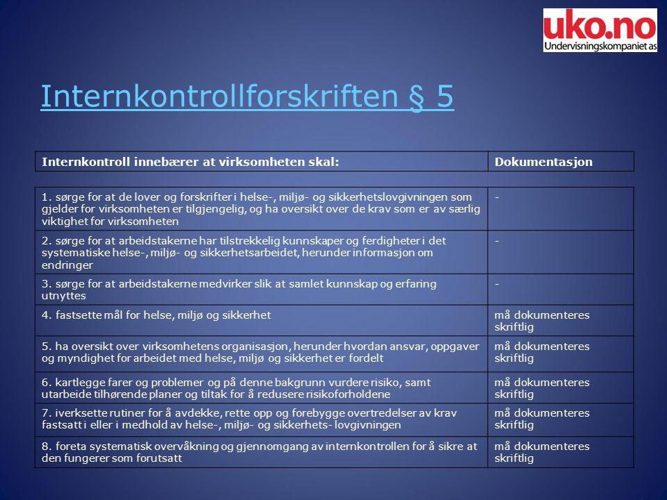 Internkontrollforskriften § 5 Internkontroll innebærer at virksomheten skal:Dokumentasjon 1.