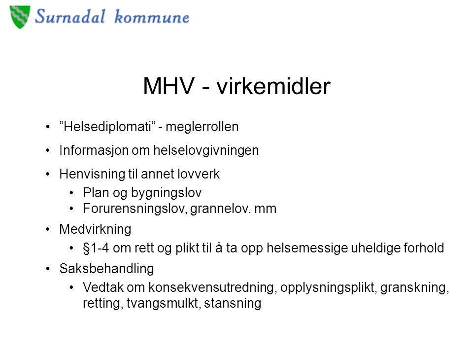 MHV - virkemidler Helsediplomati - meglerrollen Informasjon om helselovgivningen Henvisning til annet lovverk Plan og bygningslov Forurensningslov, grannelov.