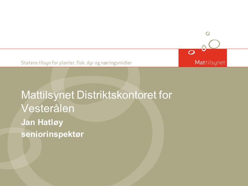 Mattilsynet Distriktskontoret for Vesterålen Jan Hatløy seniorinspektør