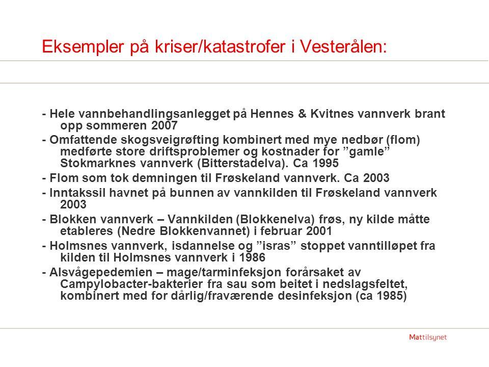 Eksempler på kriser/katastrofer i Vesterålen: - Hele vannbehandlingsanlegget på Hennes & Kvitnes vannverk brant opp sommeren 2007 - Omfattende skogsveigrøfting kombinert med mye nedbør (flom) medførte store driftsproblemer og kostnader for gamle Stokmarknes vannverk (Bitterstadelva).