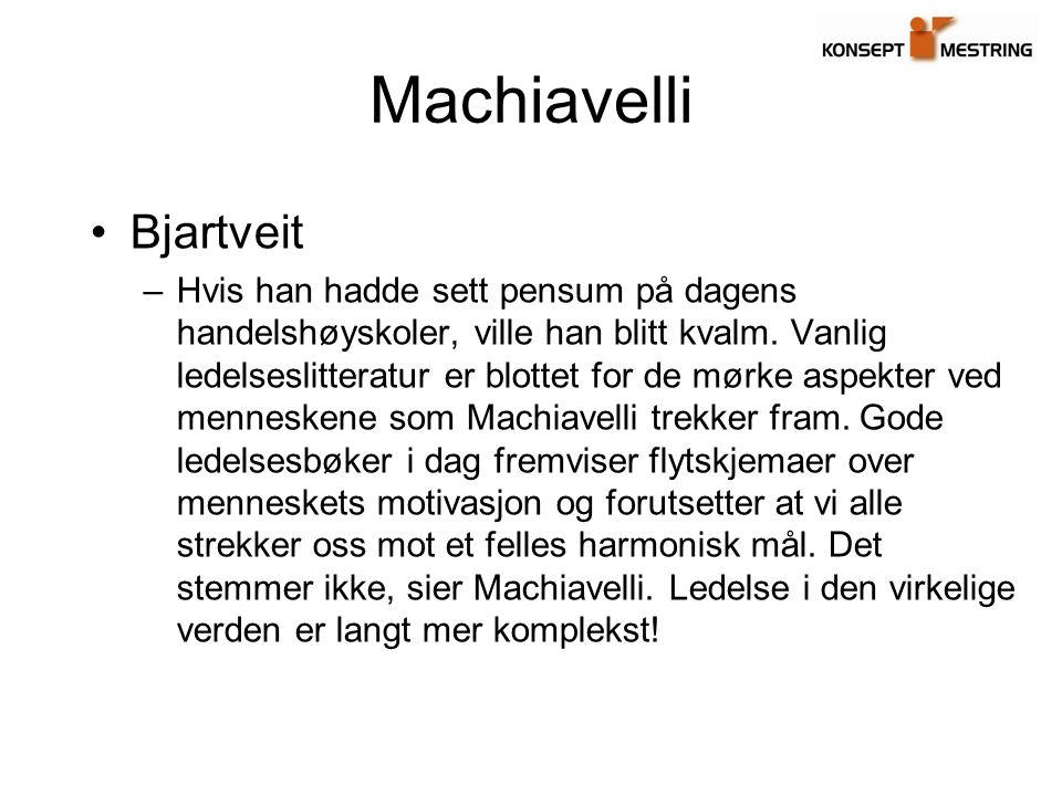 Sentrale forhold hos knyttet til Machiavelli Som ikke vil bli videreført her… Forsyn, dygd og anledning Historiske helter –Romulus Discorsi