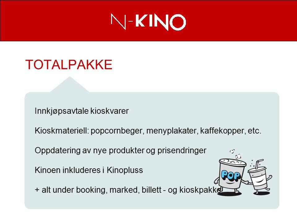 TOTALPAKKE Innkjøpsavtale kioskvarer Kioskmateriell: popcornbeger, menyplakater, kaffekopper, etc.
