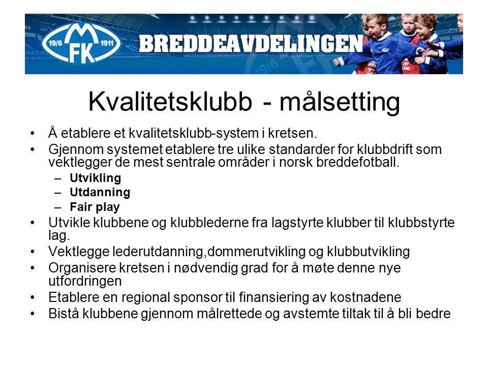 Kvalitetsklubb - målsetting Å etablere et kvalitetsklubb-system i kretsen.
