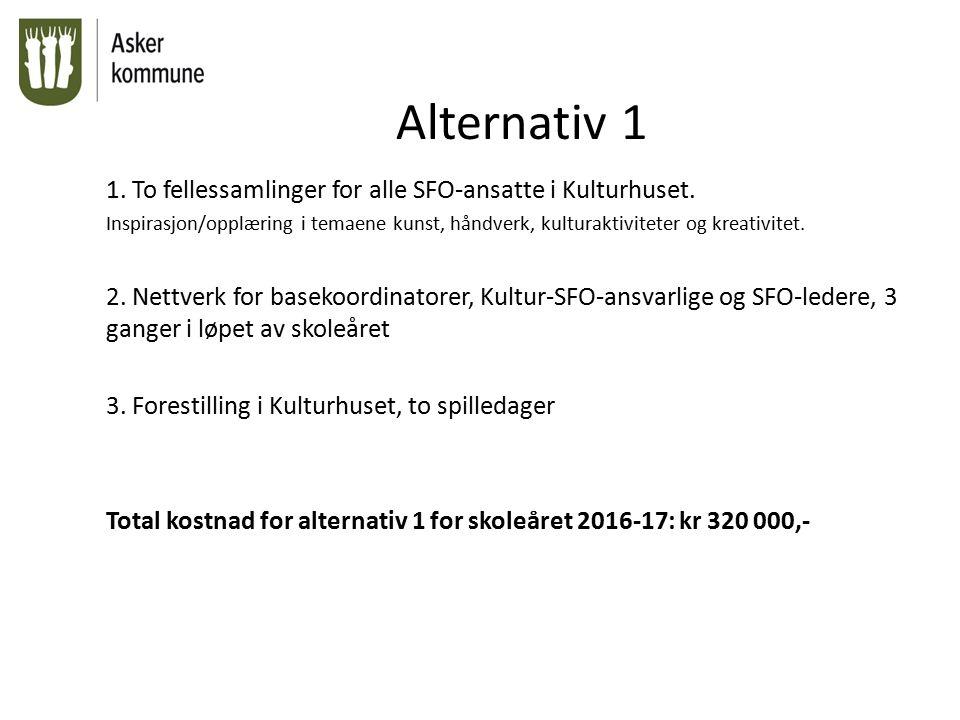 Alternativ 2 1.To fellessamlinger for alle SFO-ansatte i Kulturhuset.