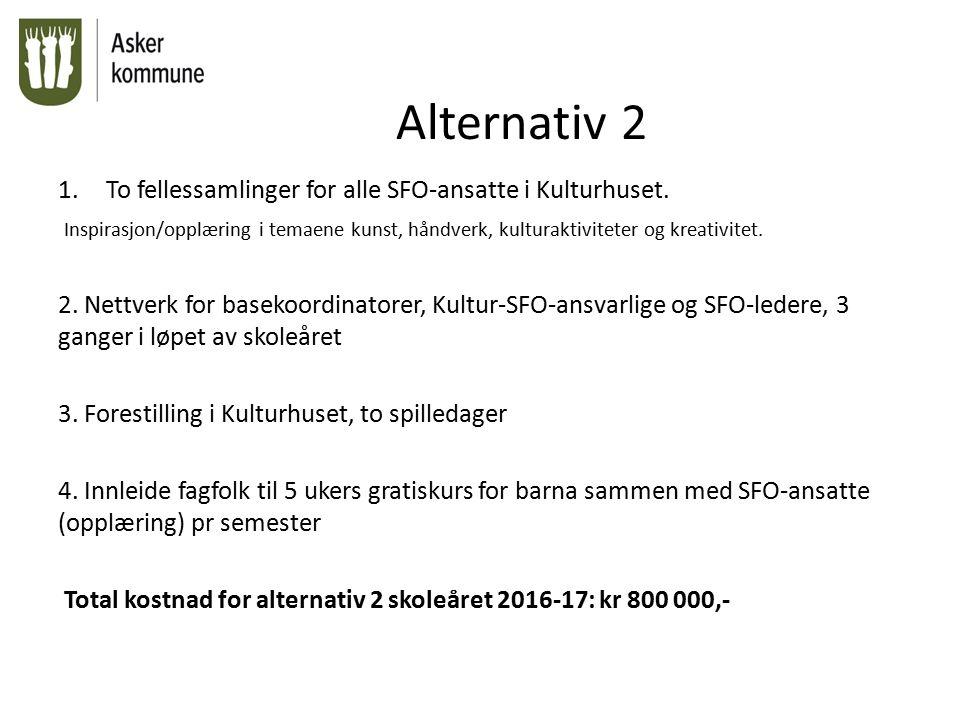 Alternativ 3 1.To fellessamlinger for alle SFO-ansatte i Kulturhuset.