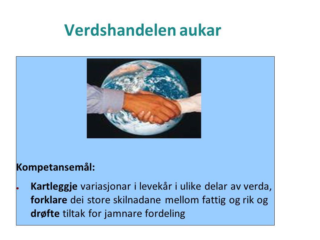 Verdshandelen aukar Kompetansemål: ● Kartleggje variasjonar i levekår i ulike delar av verda, forklare dei store skilnadane mellom fattig og rik og drøfte tiltak for jamnare fordeling