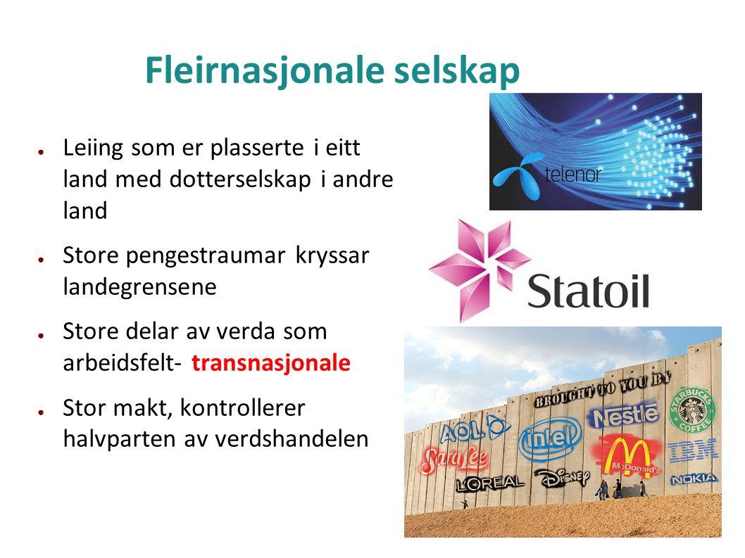 Fleirnasjonale selskap ● Leiing som er plasserte i eitt land med dotterselskap i andre land ● Store pengestraumar kryssar landegrensene ● Store delar