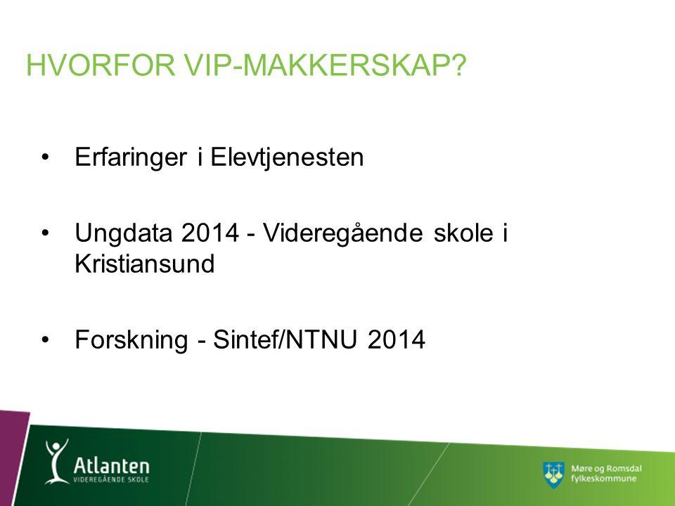 Erfaringer i Elevtjenesten Ungdata 2014 - Videregående skole i Kristiansund Forskning - Sintef/NTNU 2014 HVORFOR VIP-MAKKERSKAP