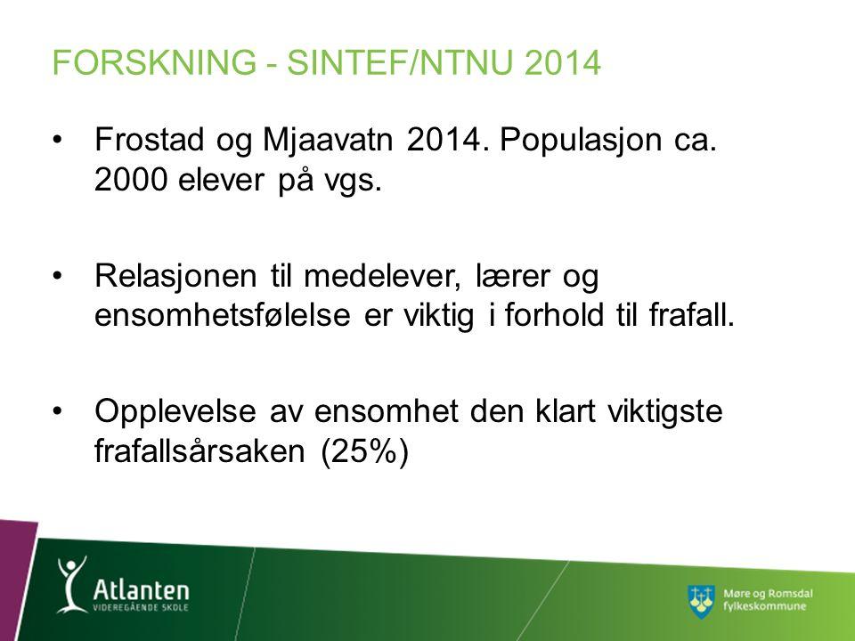 Frostad og Mjaavatn 2014. Populasjon ca. 2000 elever på vgs. Relasjonen til medelever, lærer og ensomhetsfølelse er viktig i forhold til frafall. Oppl