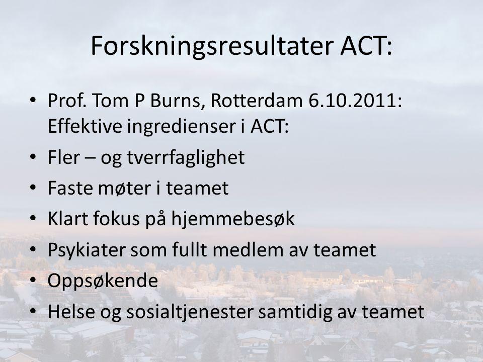 ACT - TEAM- arbeid Et sted å bearbeide og reflektere Felles pasientansvar Daglig pasientrapport Prosessveiledning Kontinuerlig fagutvikling