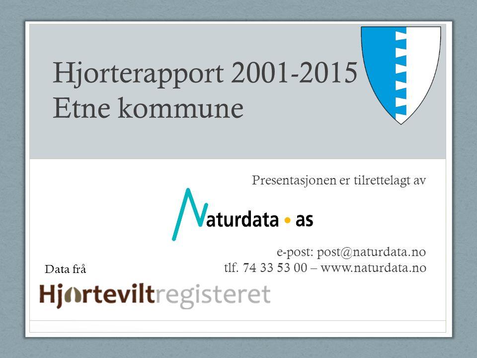Hjorterapport 2001-2015 Etne kommune Presentasjonen er tilrettelagt av e-post: post@naturdata.no tlf.