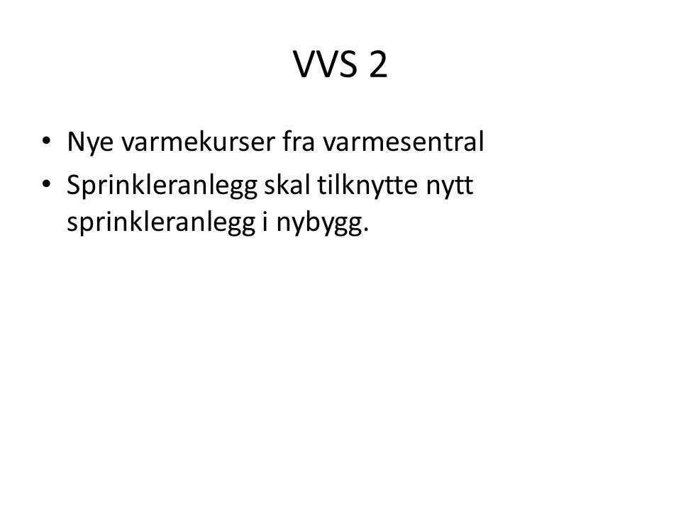 VVS 2 Nye varmekurser fra varmesentral Sprinkleranlegg skal tilknytte nytt sprinkleranlegg i nybygg.