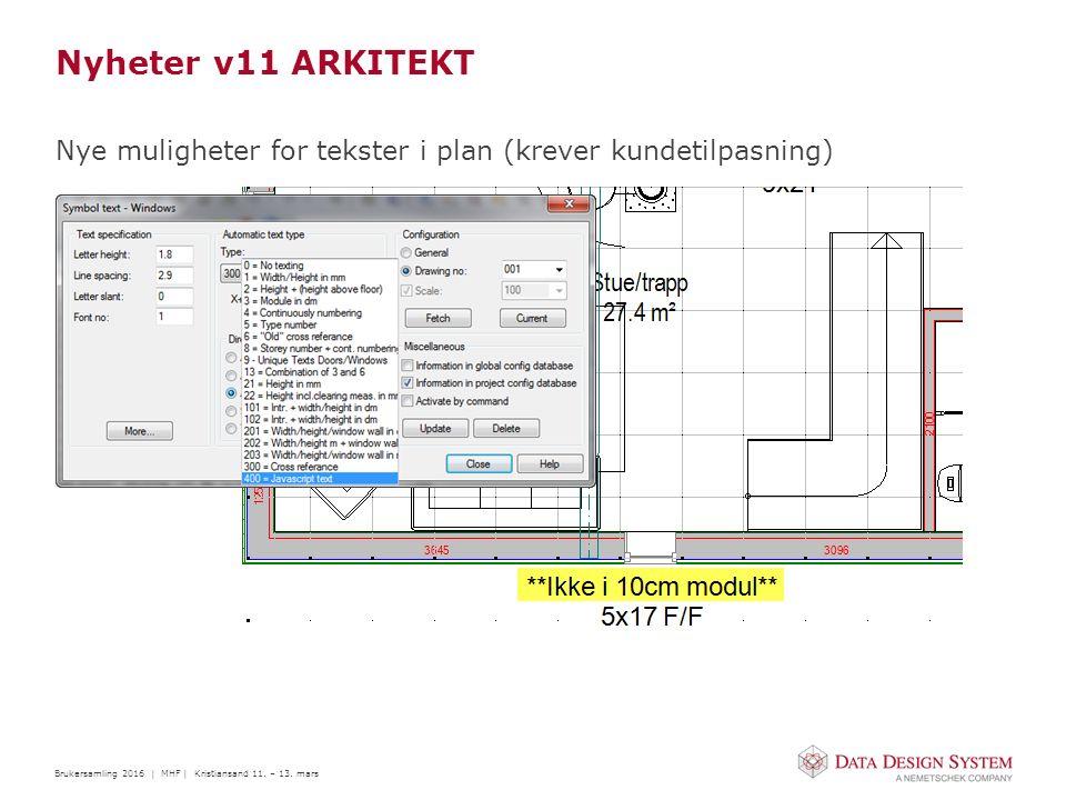 Brukersamling 2016 | MHF | Kristiansand 11. – 13. mars Nyheter v11 ARKITEKT Nye muligheter for tekster i plan (krever kundetilpasning)