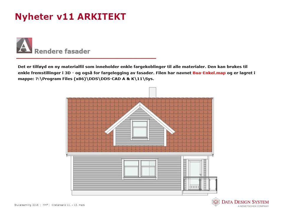 Brukersamling 2016 | MHF | Kristiansand 11. – 13. mars Nyheter v11 ARKITEKT