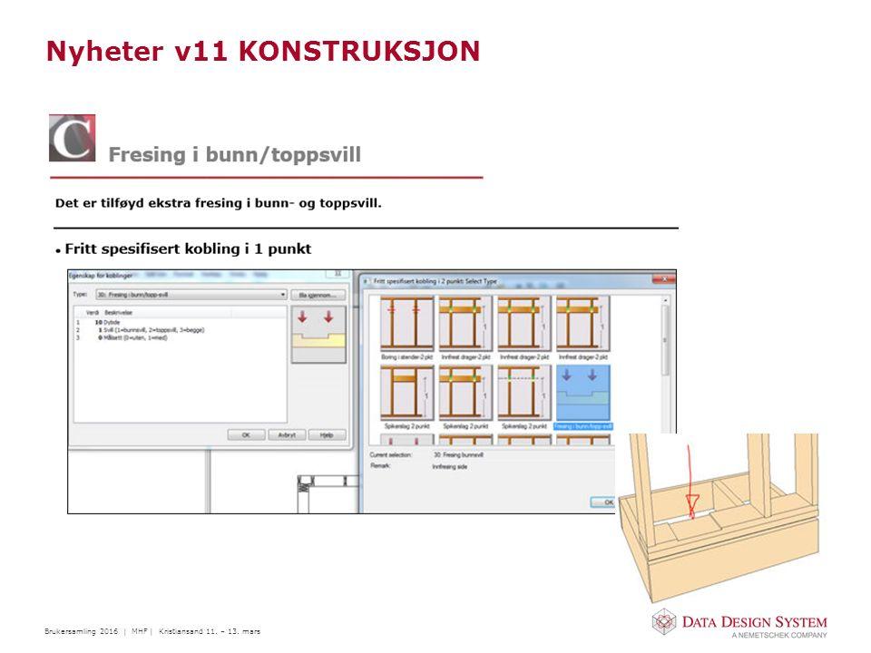 Brukersamling 2016 | MHF | Kristiansand 11. – 13. mars Nyheter v11 KONSTRUKSJON
