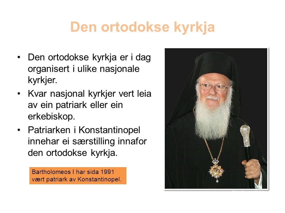 Den ortodokse kyrkja Den ortodokse kyrkja er i dag organisert i ulike nasjonale kyrkjer.