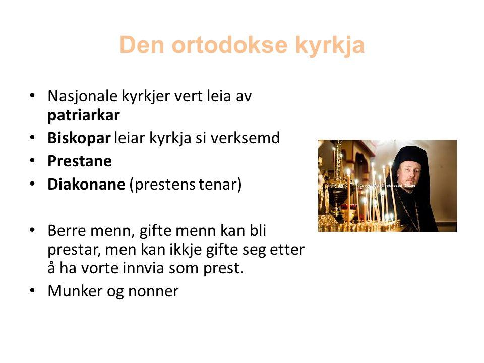 Den ortodokse kyrkja Nasjonale kyrkjer vert leia av patriarkar Biskopar leiar kyrkja si verksemd Prestane Diakonane (prestens tenar) Berre menn, gifte menn kan bli prestar, men kan ikkje gifte seg etter å ha vorte innvia som prest.