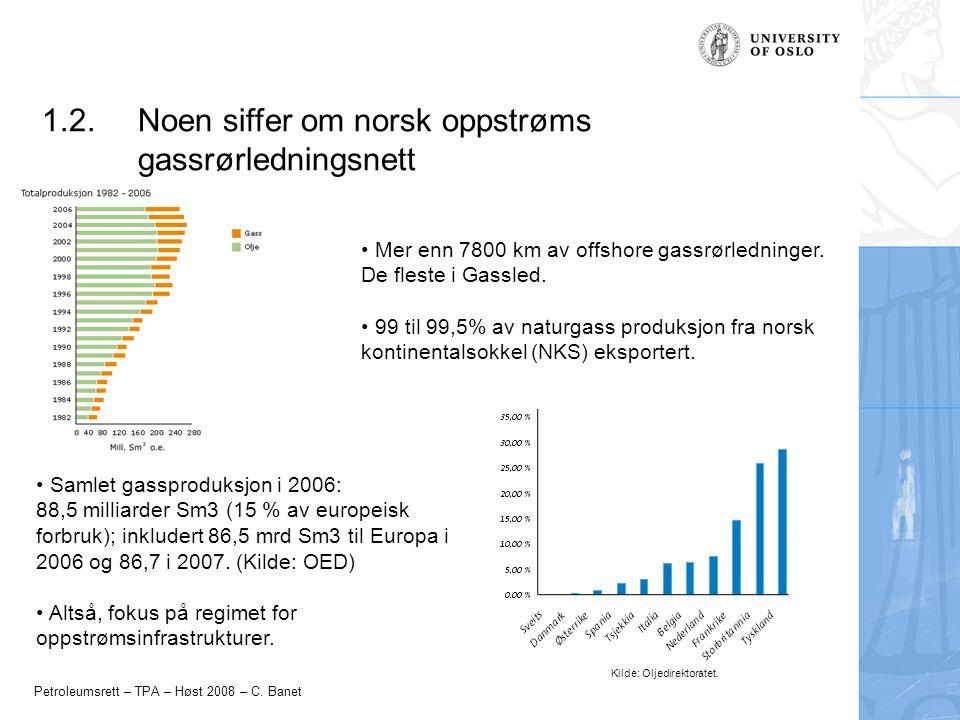 Petroleumsrett – TPA – Høst 2008 – C. Banet 1.2.Noen siffer om norsk oppstrøms gassrørledningsnett Mer enn 7800 km av offshore gassrørledninger. De fl