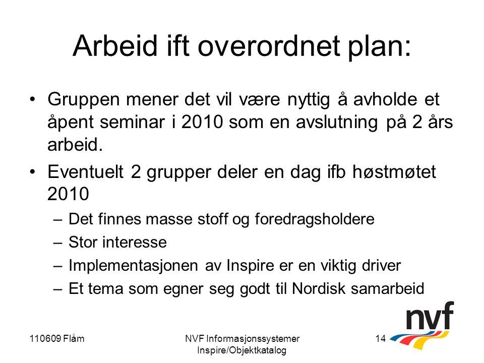 110609 FlåmNVF Informasjonssystemer Inspire/Objektkatalog 14 Arbeid ift overordnet plan: Gruppen mener det vil være nyttig å avholde et åpent seminar i 2010 som en avslutning på 2 års arbeid.