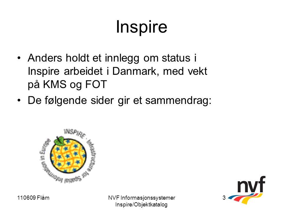 110609 FlåmNVF Informasjonssystemer Inspire/Objektkatalog 3 Inspire Anders holdt et innlegg om status i Inspire arbeidet i Danmark, med vekt på KMS og FOT De følgende sider gir et sammendrag: