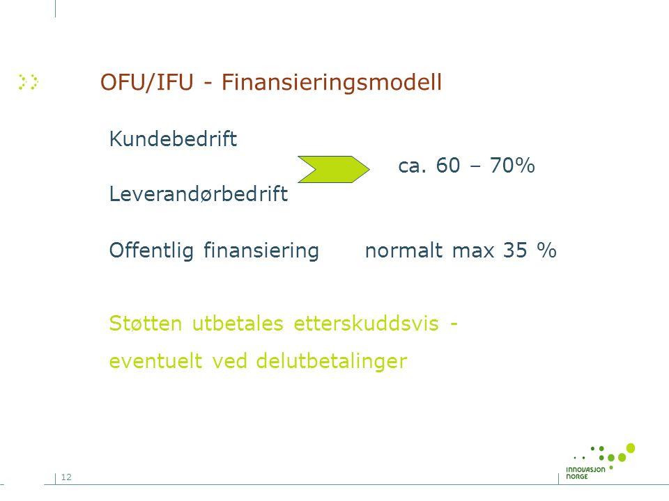 12 Kundebedrift ca. 60 – 70% Leverandørbedrift Offentlig finansiering normalt max 35 % Støtten utbetales etterskuddsvis - eventuelt ved delutbetalinge