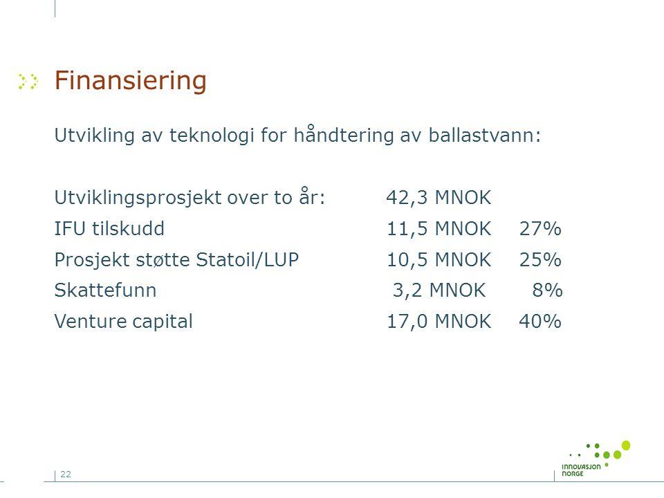 22 Finansiering Utvikling av teknologi for håndtering av ballastvann: Utviklingsprosjekt over to år:42,3 MNOK IFU tilskudd11,5 MNOK27% Prosjekt støtte