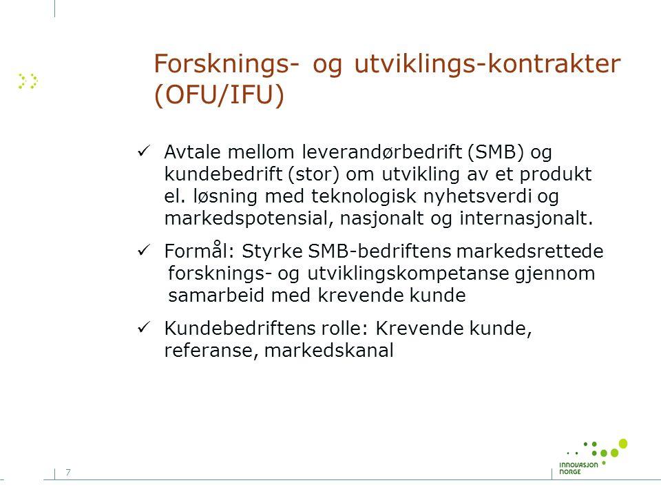 7 Avtale mellom leverandørbedrift (SMB) og kundebedrift (stor) om utvikling av et produkt el. løsning med teknologisk nyhetsverdi og markedspotensial,
