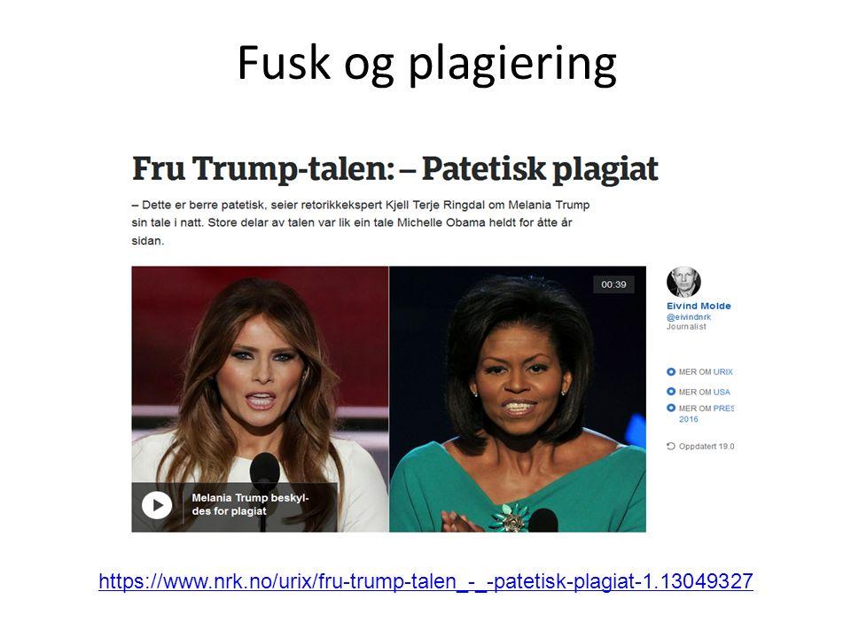 Fusk og plagiering https://www.nrk.no/urix/fru-trump-talen_-_-patetisk-plagiat-1.13049327