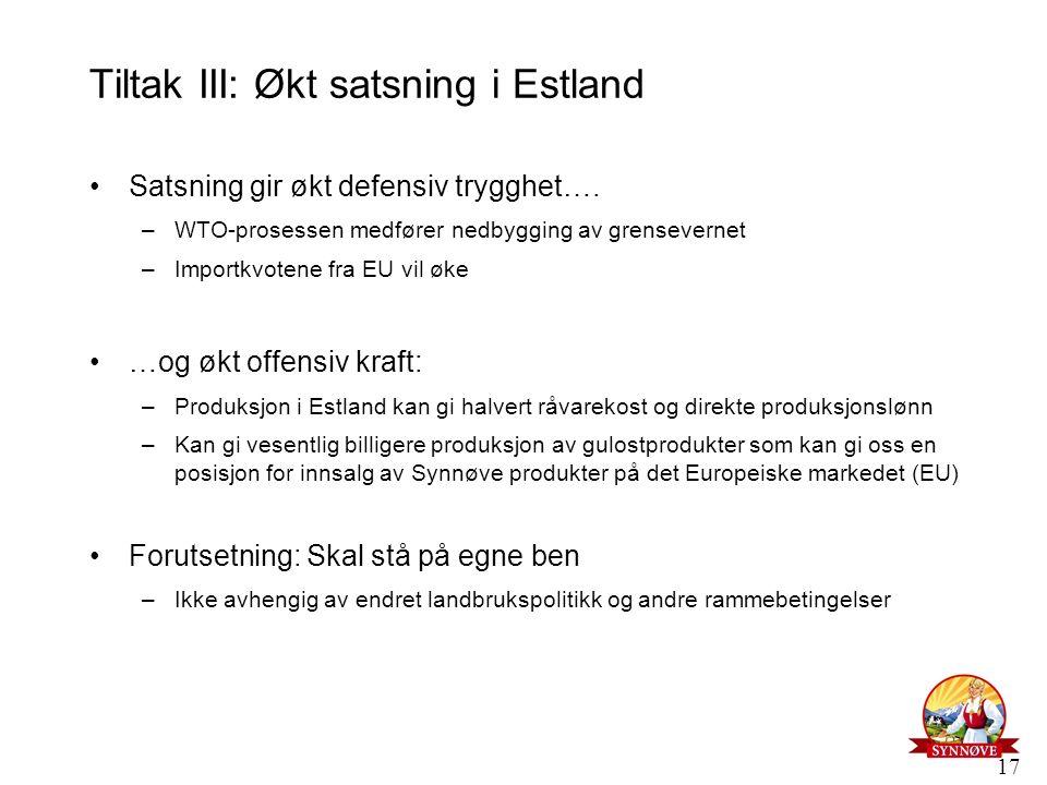 17 Tiltak III: Økt satsning i Estland Satsning gir økt defensiv trygghet…. –WTO-prosessen medfører nedbygging av grensevernet –Importkvotene fra EU vi