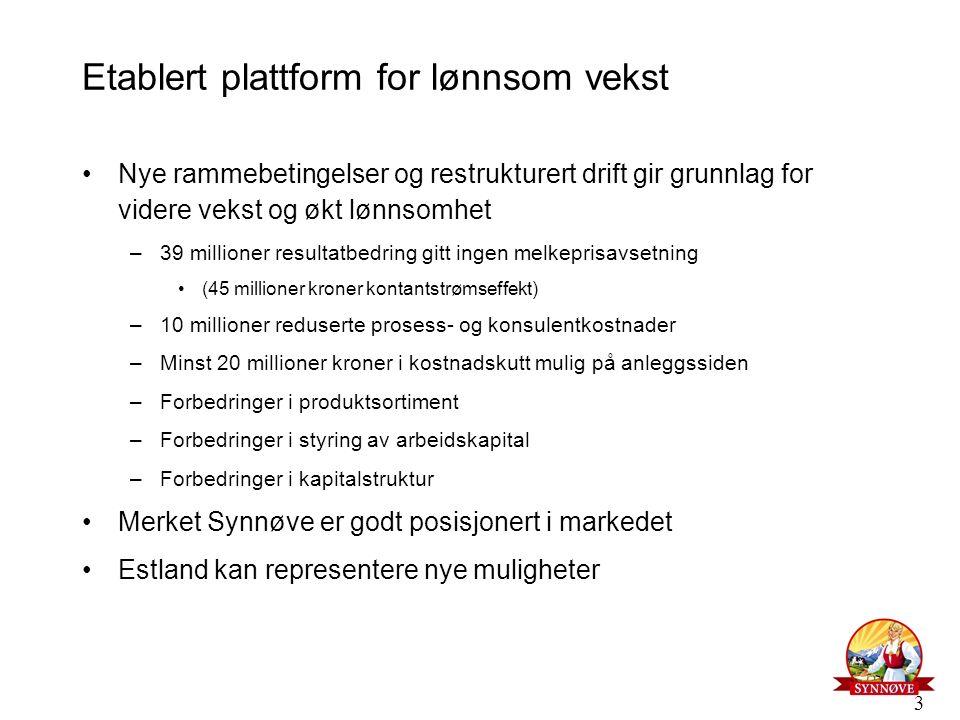 3 Etablert plattform for lønnsom vekst Nye rammebetingelser og restrukturert drift gir grunnlag for videre vekst og økt lønnsomhet –39 millioner resul