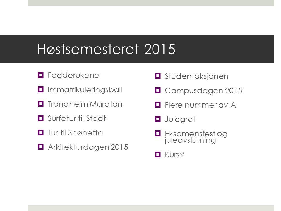 Høstsemesteret 2015  Fadderukene  Immatrikuleringsball  Trondheim Maraton  Surfetur til Stadt  Tur til Snøhetta  Arkitekturdagen 2015  Studenta