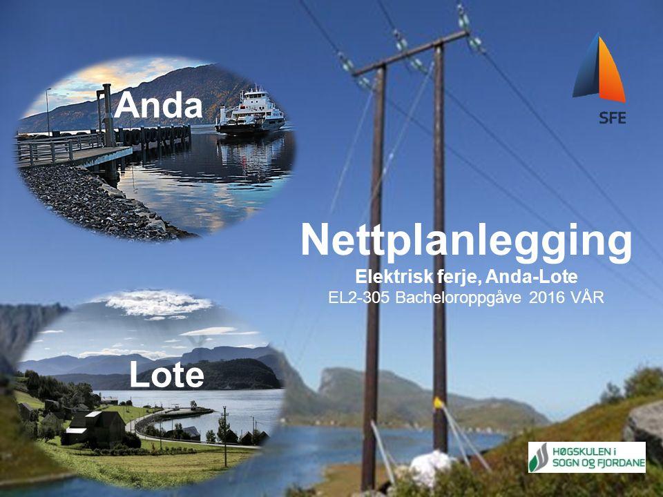 NETTPLANLEGGING ELEKTRISK FERJE, ANDA-LOTE Anda Lote Nettplanlegging Elektrisk ferje, Anda-Lote EL2-305 Bacheloroppgåve 2016 VÅR