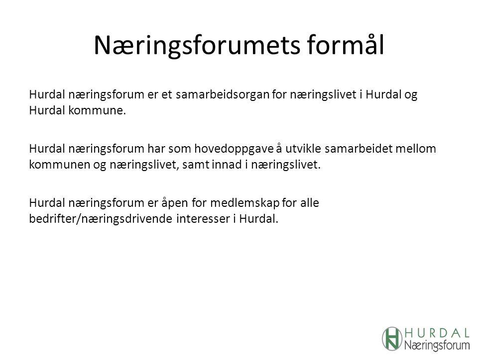 Næringsforumets formål Hurdal næringsforum er et samarbeidsorgan for næringslivet i Hurdal og Hurdal kommune. Hurdal næringsforum har som hovedoppgave