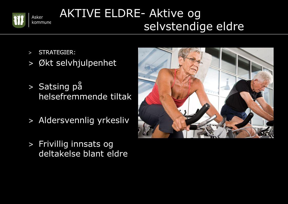 AKTIVE ELDRE- Aktive og selvstendige eldre > STRATEGIER: > Økt selvhjulpenhet > Satsing på helsefremmende tiltak > Aldersvennlig yrkesliv > Frivillig