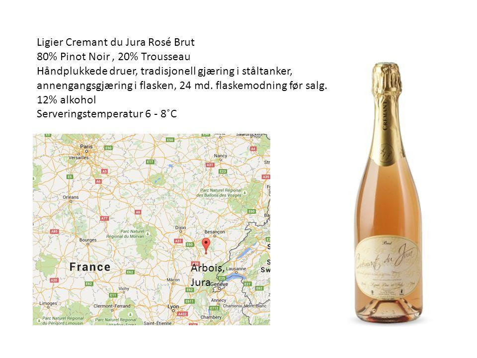 Ligier Cremant du Jura Rosé Brut 80% Pinot Noir, 20% Trousseau Håndplukkede druer, tradisjonell gjæring i ståltanker, annengangsgjæring i flasken, 24 md.