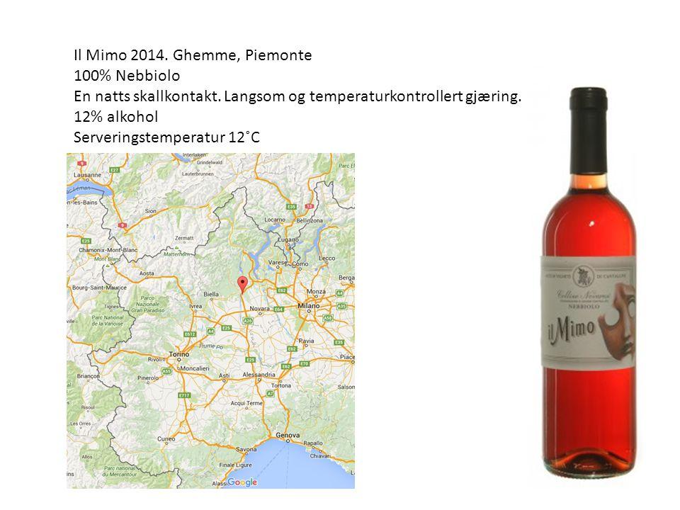 Il Mimo 2014. Ghemme, Piemonte 100% Nebbiolo En natts skallkontakt.