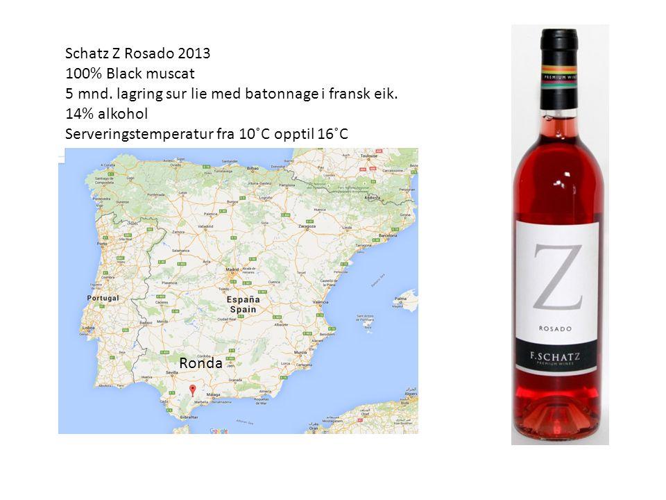 Schatz Z Rosado 2013 100% Black muscat 5 mnd. lagring sur lie med batonnage i fransk eik.