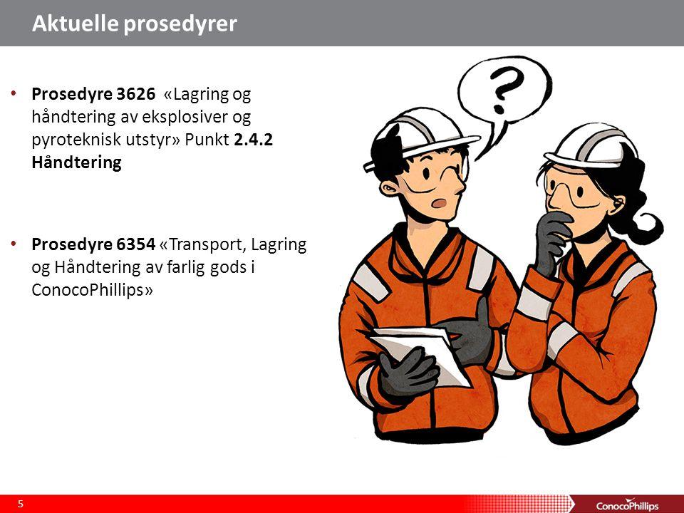 Aktuelle prosedyrer Prosedyre 3626 «Lagring og håndtering av eksplosiver og pyroteknisk utstyr» Punkt 2.4.2 Håndtering Prosedyre 6354 «Transport, Lagring og Håndtering av farlig gods i ConocoPhillips» 5