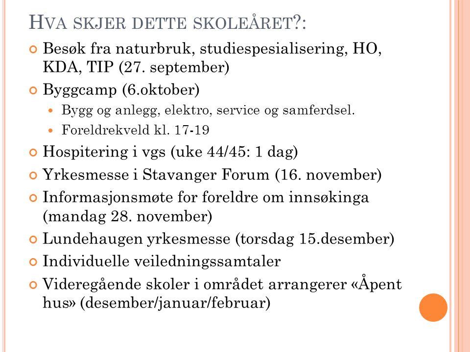H VA SKJER DETTE SKOLEÅRET : Besøk fra naturbruk, studiespesialisering, HO, KDA, TIP (27.