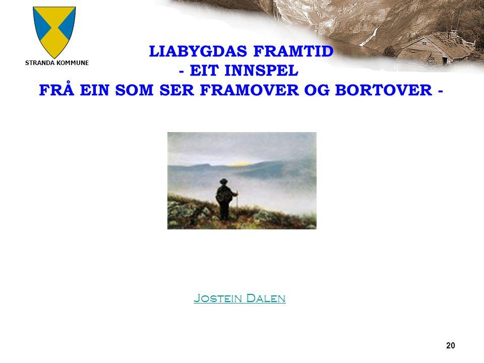 STRANDA KOMMUNE 20 LIABYGDAS FRAMTID - EIT INNSPEL FRÅ EIN SOM SER FRAMOVER OG BORTOVER - Jostein Dalen