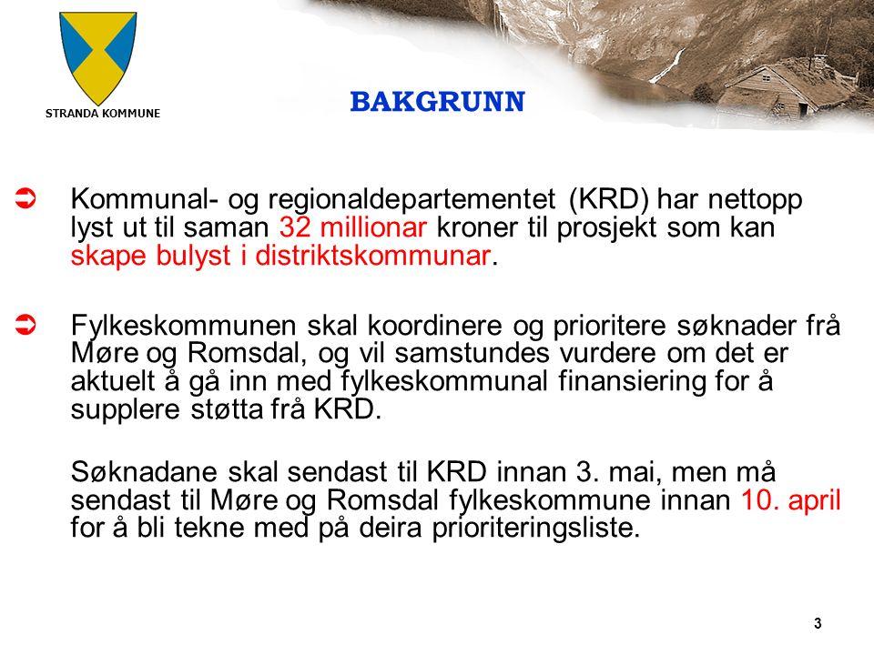 STRANDA KOMMUNE 3 BAKGRUNN  Kommunal- og regionaldepartementet (KRD) har nettopp lyst ut til saman 32 millionar kroner til prosjekt som kan skape bulyst i distriktskommunar.