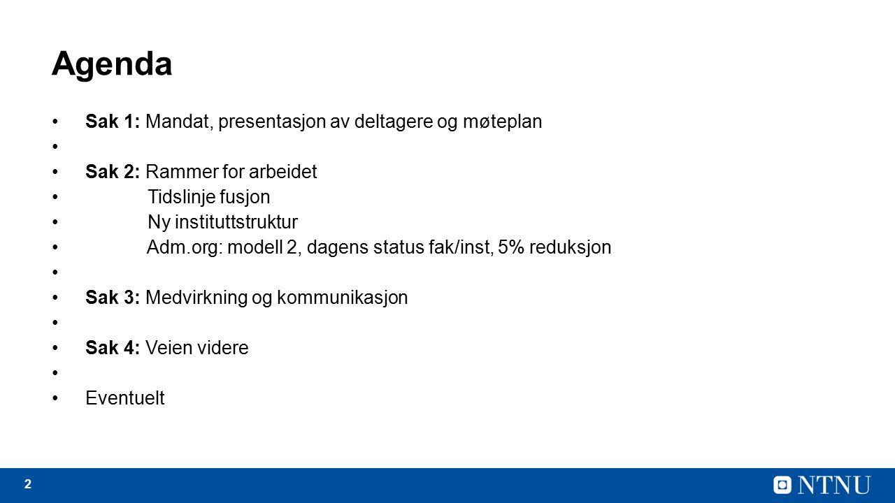 2 Agenda Sak 1: Mandat, presentasjon av deltagere og møteplan Sak 2: Rammer for arbeidet Tidslinje fusjon Ny instituttstruktur Adm.org: modell 2, dagens status fak/inst, 5% reduksjon Sak 3: Medvirkning og kommunikasjon Sak 4: Veien videre Eventuelt