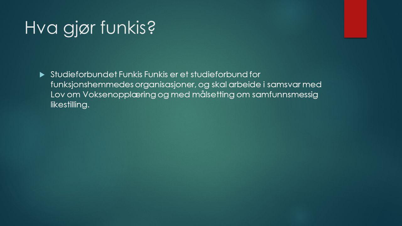 Formålet med funkis  Funkis skal arbeide med voksenopplæring for funksjonshemmede og deres pårørende.