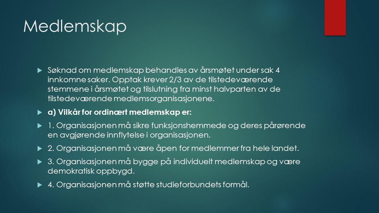 Medlemskap  Søknad om medlemskap behandles av årsmøtet under sak 4 innkomne saker.