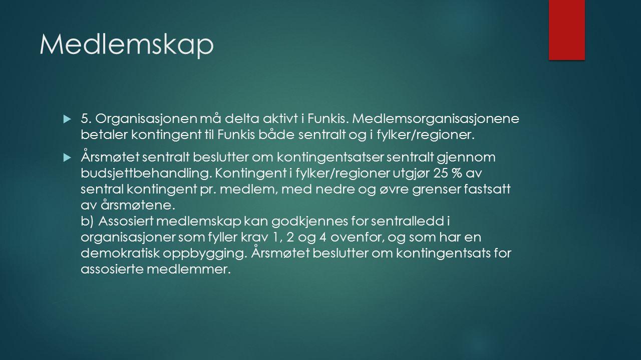 Medlemskap  5. Organisasjonen må delta aktivt i Funkis.