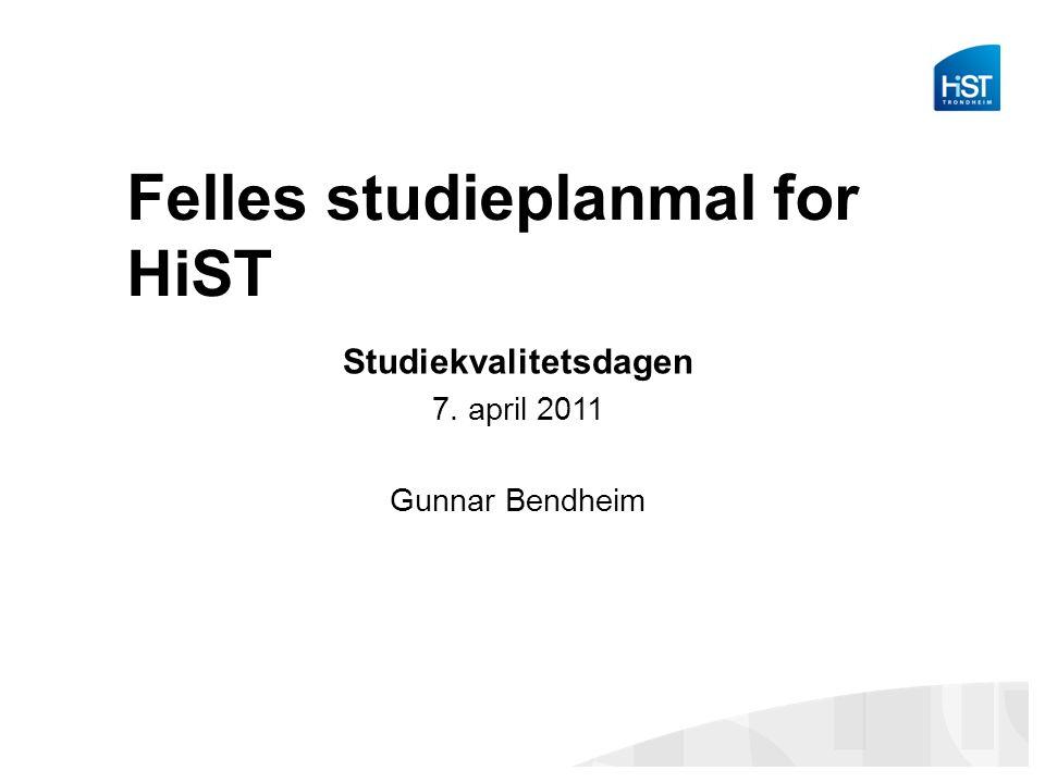 Bakgrunn og formål Studie(- og fag)planer ved HiST har hatt stor variasjonsbredde –Struktur, terminologi, presisjon, volum –F.eks.