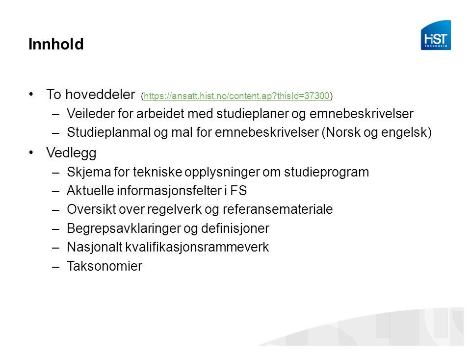 Studieplanmalen 1) Innledning 2) Målgruppe, jf.veiledningen pkt.